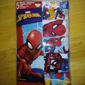 New boys 5pack Spider-man underwear size 8